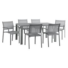 WILLSDEN Grey garden table and 6 chairs set