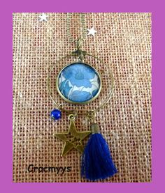 Sautoir créole liberty poppy and daisy bleu : Collier par crocmyys
