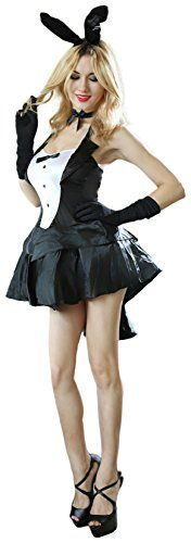 Black Tux and Tails Womens Sexy Bunny Costume Inc Headdress Dress Gloves Bowtie -- Click image for more details.