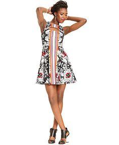 Bar III Dress, Sleeveless High-Neck Floral-Print