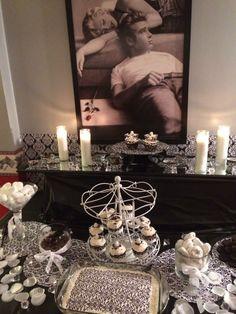 black & white marilyn monroe themed sweets table