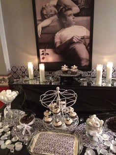 black & white marilyn monroe themed sweets table
