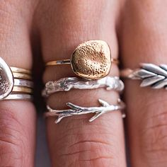 sticks and stones rings. mixed metals.