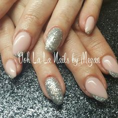 Pretty pale pink & silver gel nails #oohlalanailsbymegan #pinkpeppermint #sterlingsilver #gelnails #nailart #coffinshaped