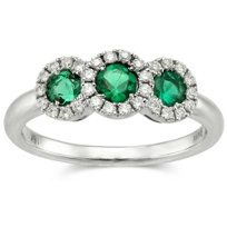 18k White Gold Three Round Emerald and Diamond Halo Ring from Borsheims.