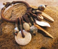 Leather Charm Bracelet With Ancient Beads by DesertTalismans
