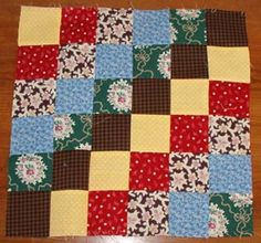 """Clever way to make a 12"""" block without piecing every little block together! Also great for stash busting"""