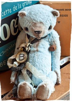 Blue Bear by VintageMagpieBears on Etsy