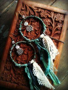 SEAFOAM Sari Silk Wrapped Hoop Earrings with Lace and Rhinestones. $34.00, via Etsy.