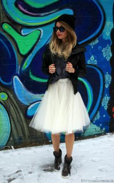 Tulle skirt, leather bomber jacket, beanie, ivory diy tulle skirt, motorcycle jacket, wedge sneakers, winter fashion