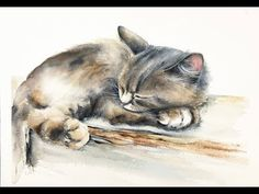 (298) Watercolor Sleeping Cat Painting Demonstration - YouTube