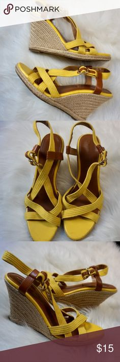 Yellow Banana Republic Wedges Size 8.5.. a couple flaws but not anything too noticeable. Very comfortable shoes! Banana Republic Shoes Wedges