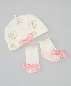 This Lovespun White & Pink Flower Heart Beanie & Socks by Lovespun is perfect! #zulilyfinds