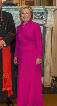 There's Obviously a Great Reason Behind Hillary Clinton's Pink Ralph Lauren Gown Hillary Clinton Campaign, Hillary Rodham Clinton, Hillary Clinton Birthday, Campaign Fashion, First Lady Melania Trump, Red Carpet Dresses, Dress Codes, Celebrity Style, Fashion Looks