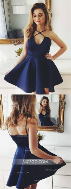 72f4723d566b Sexy Navy Blue Spaghetti Strap Sweetheart Mini Homecoming Dresses Cheap Cocktail  Dresses #hoco #homecomingdress. NICEOO