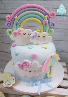 1st Birthday Cake For Girls, Baby Birthday Cakes, Rainbow Birthday Party, Fondant Cake Toppers, Cupcake Cakes, Fondant Cupcakes, Cupcake Toppers, Fondant Rainbow, Cloud Cake