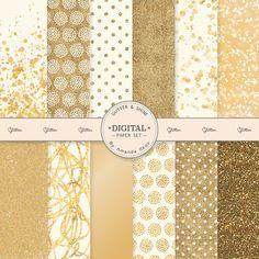 Premium Gold Glitter Digital Papers  Gold Bokeh by AmandaIlkov