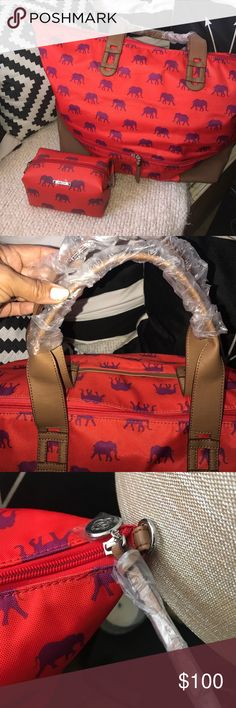 """S&D ELEPHANT GETAWAY with matching POUF This bag is in excellent condition! I only used it for displays in my Styling Sessions! You will love having this on your travels! Packing is a cinch with lots of room for spontaneous shopping 🛍 wrapping is still on handles & logo! The price reflects for both items! Please absolutely N⭕️ LOW BALLING 😀 N⭕️ Trades😀 Thank you!  Exterior: Woven fabric, front slit pocket, top zipper closure. Measurements: Height 15"""" (Expanded 19.25""""), Length 23"""" Depth…"""