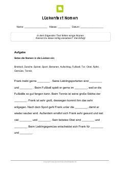 arbeitsblatt l252ckentext bewegung von tieren n233met