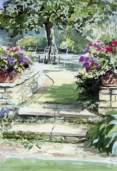 Apple tree and seat - watercolour by Dorothy Pavey