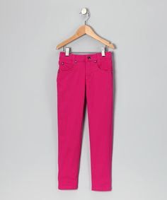 Fuchsia Rhinestone Skinny Jeans - Toddler & Girls