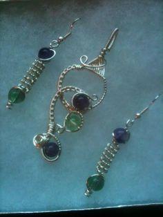 Fluorite Bead Set wire wrap Wire Wrapping, Drop Earrings, Beads, Jewelry, Beading, Jewlery, Jewerly, Schmuck, Drop Earring