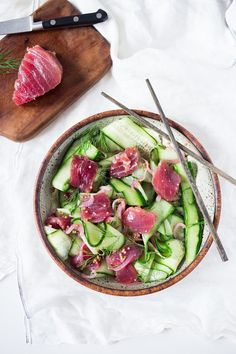 Cucumber Ahi Salad with pickled onion, dill and mustard seeds- a simple healthy meal that& refreshing, low carb, gluten free, and paleo. Raw Fish Recipes, Seafood Recipes, Healthy Dinner Recipes, Asian Recipes, Whole Food Recipes, Paleo Recipes, Delicious Recipes, Healthy Tuna Salad, Healthiest Seafood