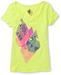 Volcom Girls Litterstone Neon Green V-Neck Tee Shirt