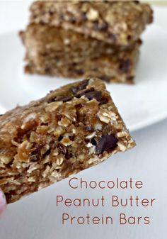 Chocolate Peanut Butter Protein Bars #HealthySnack