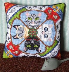 Cool Cats Mini Cushion Cross Stitch Kit by SheenaRogersDesigns, £9.99