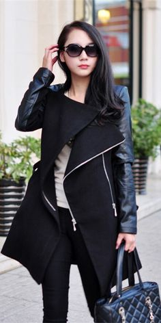 Stand Collar Faux Leather Spliced Zippered Wool Coat