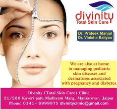 We are also at home in managing pediatric skin diseases dermatoses associated with pregnancy and diabetes.