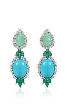 Emerald Turquoise And Chrysophrase Earrings by Farah Khan Fine Jewelry for Preorder on Moda Operandi