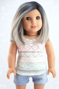 Silver Ombre Custom American Girl Doll Wig fits size 10-11 Joy Wig Gray Hair Trend: Beautifully Custom Exclusive