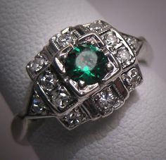 Vintage emerald and diamond. I love my birthstone, emerald.