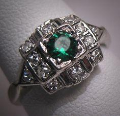 vintage emerald and diamond