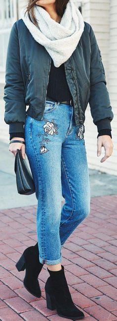 #winter #fashion /  Blue Jacket / White Scarf / Flower Print Jeans / Black Booties