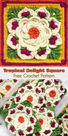 Tropical Delight - Crochet Square [Free Pattern and Video Tutorial] Crochet Blocks, Granny Square Crochet Pattern, Crochet Flower Patterns, Crochet Stitches Patterns, Crochet Squares, Crochet Granny, Crochet Designs, Granny Squares, Crochet Afghans
