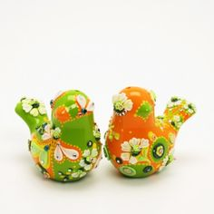 Orange Avocado green Love Bird cake topper Salt Pepper Shaker gifts 21 | sweetiecaketopper - Wedding on ArtFire