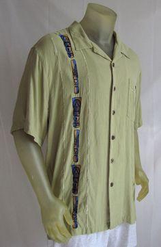 Club Tiki Classics Mens Hawaiian Camp Shirt Embroidered Silk Tiki Designs Large #ClubTikiClassics #Hawaiian