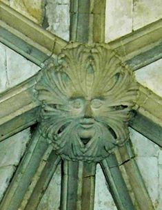 Green Man on a roof boss in Canterbury Cathedral, England (photo Maddy Aldis-Evans)