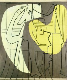 Painter and his Model 1927 - Pablo Picasso - Oil on Canvas 21.4x20 cm