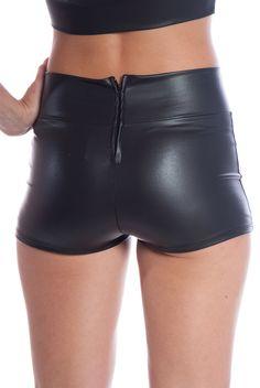 Faux Leather Hot Pants - Black