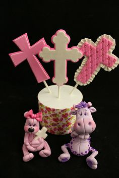 I made this lovely set of cake toppers for a customers Baptism cake. Fondant Toppers, Fondant Cakes, Cupcake Cakes, Cupcakes, Religious Cakes, Baby Christening, Fondant Figures, Themed Cakes, Sweet Recipes