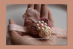 Gorgeous Peach, Coral, Cream Triple Satin Rosette and Feather Headband w/ Pearl Flower - Baby, Girl, Photo Prop, Wedding