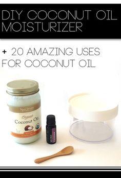 DIY Coconut Oil Moisturizer + 20 Amazing Uses for Coconut Oil. #DIY Beauty Recipes