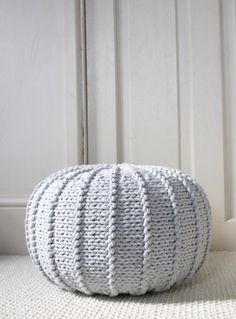 White Pouf Ottoman Captivating This Milky White Knitted Pouf Ottoman Manufacturedpuffchic Made Inspiration