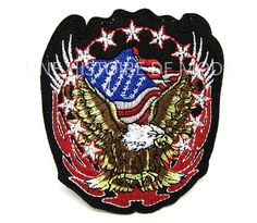 Large Bald Eagle Embroidery Biker Patches For Clothes America Flag Motor Eagle Iron On Patch Applique Vest Jacket Back Patch