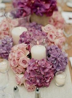 uscious roses and hydrangea candle centerpieces