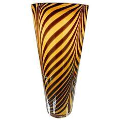 Italian 1950s Dino Martens Mid-Century Modern Zebra Art Glass Vase ($1,005) ❤ liked on Polyvore featuring home, home decor, vases, art glass home decor, zebra vase, art glass vase, zebra home accessories and zebra home decor